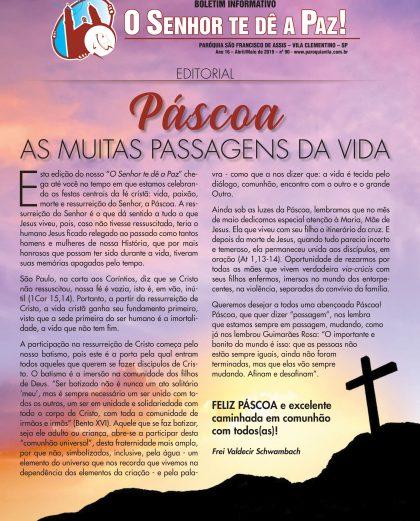 """Boletim """"O Senhor te dê a Paz"""", Maio de 2019"""