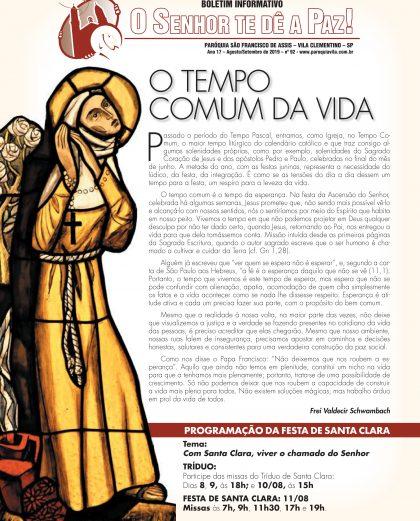 """Boletim """"O Senhor te dê a Paz"""", Agosto de 2019"""