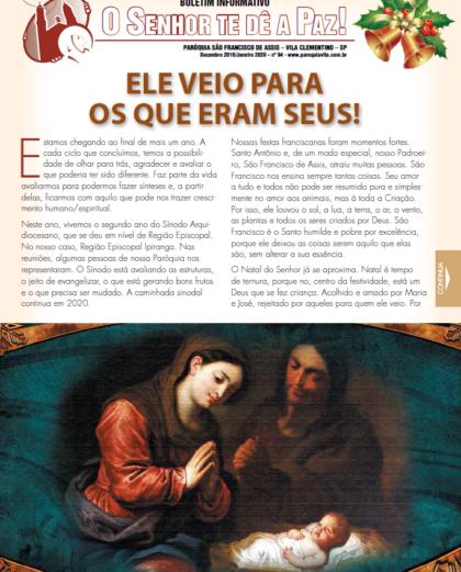 """Boletim """"O Senhor te dê a Paz"""", Dezembro/ Janeiro de 2020"""