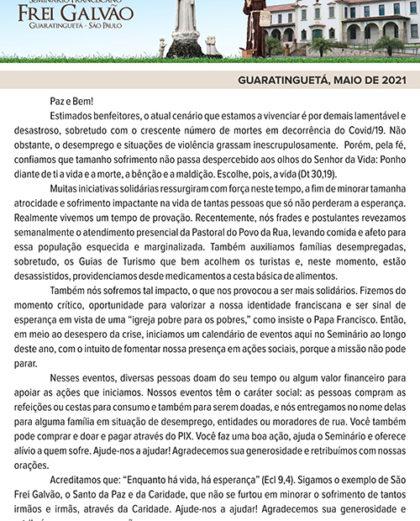 """Boletim """"Seminário Frei Galvão"""" maio de 2021"""