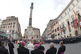 Na Praça de Espanha, Papa confia a Maria os oprimidos pela desconfiança