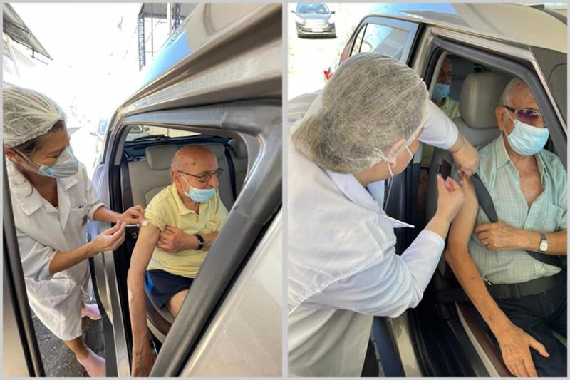 [Frei Clarêncio e Frei Claudius são vacinados contra a Covid-19 em Vila Velha]