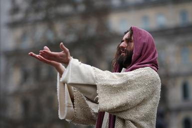 Actors Perform The Passion Of Jesus At Trafalgar Square On Good Friday